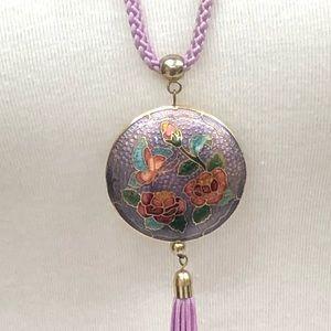 Cloisonné pendant with tassel necklace